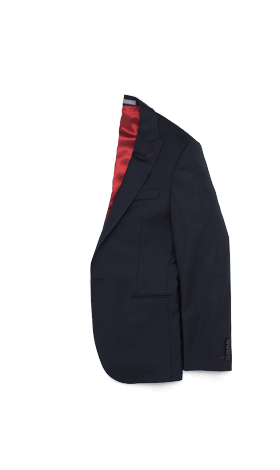A black INDOCHINO jacket with red lining.