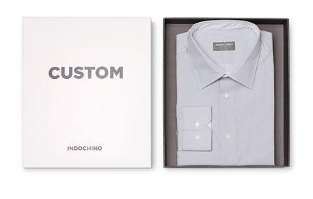 A custom INDOCHINO shirt folded inside it's shipping box.