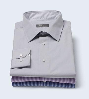 A stack of three INDOCHINO regular custom shirts.