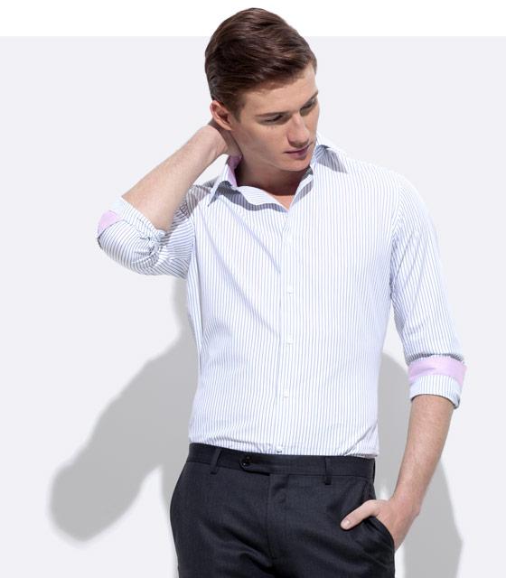 An INDOCHINO custom shirt with pink trim.