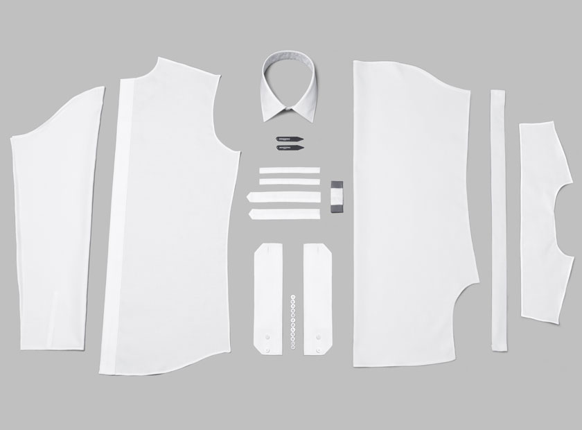 An arranged group of components that make up an INDOCHINO custom shirt.