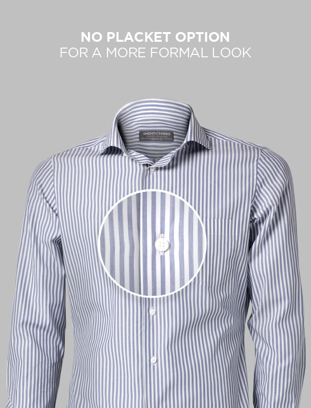 A magnified view of a blue pin-striped INDOCHINO custom shirt with no plackets.
