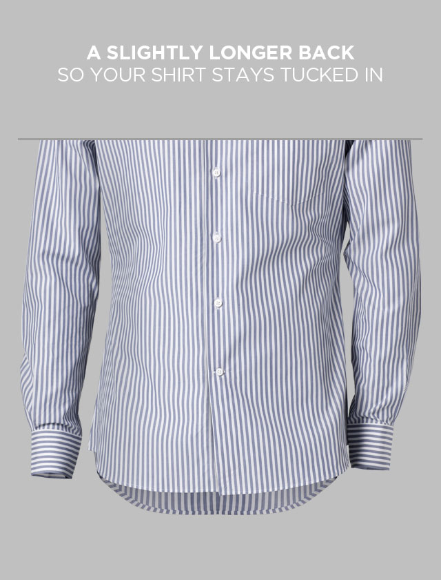 A blue pin-striped INDOCHINO custom shirt showcasing a longer back.