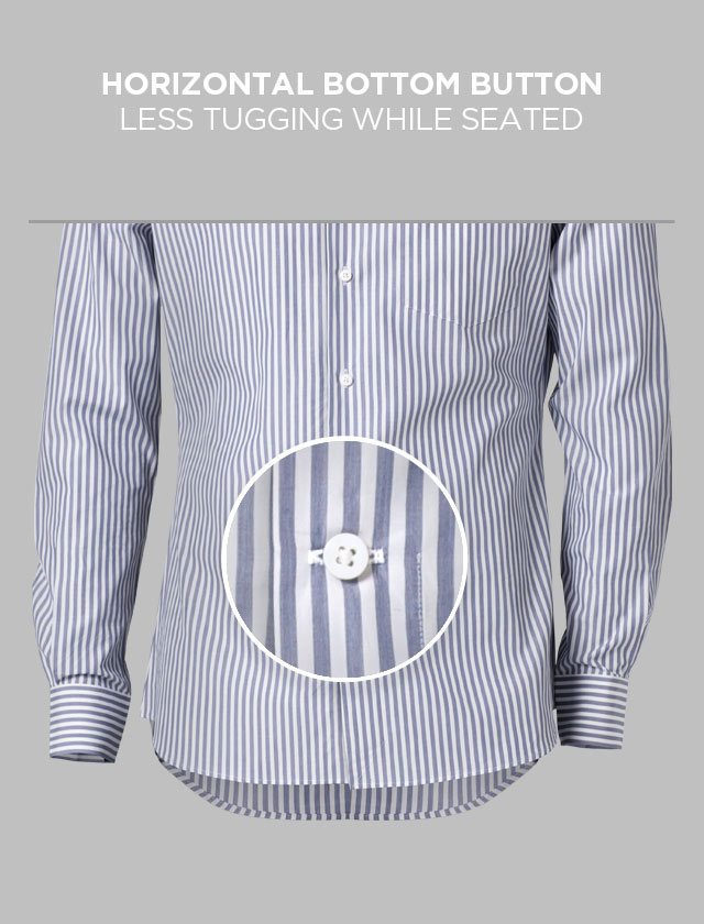 A magnified view of a horizontally placed last button on an INDOCHINO shirt.