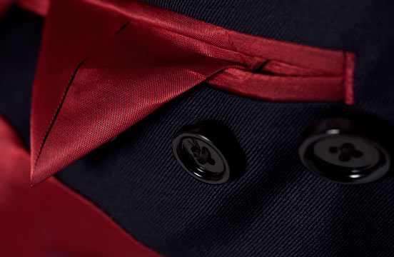 Close up view of the lining in an INDOCHINO jacket.